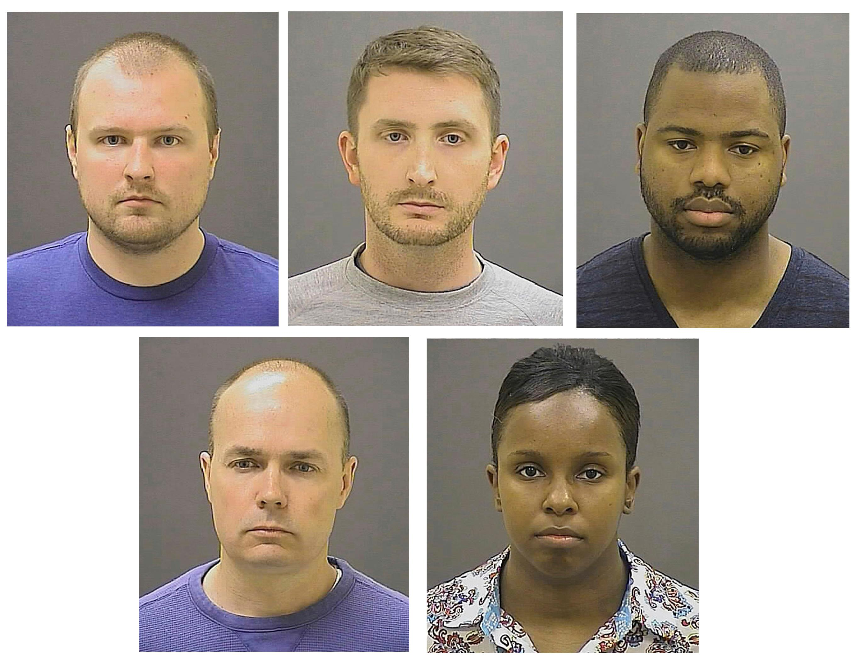 FILE - These May 1, 2015 file photos provided by the Baltimore Police Department show five Baltimore police officers charged in the death of Freddie Gray; top row from left, J.Garrett Miller, Edwin M. Nero, and William G, Porter, bottom row, from left,  Brian W. Rice, and Alicia D. White, who have filed a lawsuit against Baltimore State's Attorney Marilyn Mosby. The 4th U.S. Circuit Court of Appeals will hear arguments Wednesday, Dec. 6, 2017, in Baltimore State's Attorney Marilyn Mosby's bid to overturn a decision from a judge who ruled that parts of the lawsuit can move forward. (AP Photos/Baltimore Police Department)