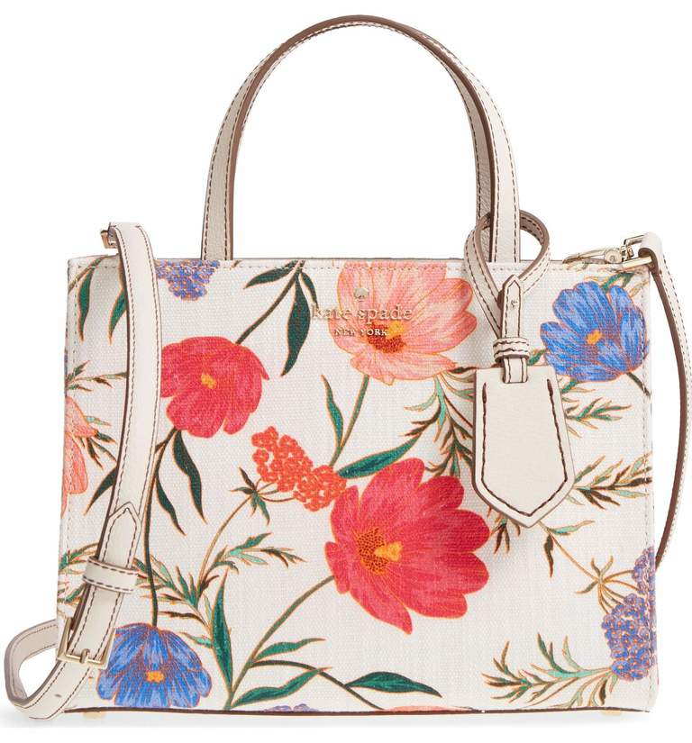 Wear something you already own and pair it with this vibrant springtime bag. The blossoms add a bright wash of color to a boxy, structured satchel detailed with gleaming logo embossing. Kate Spade - $298 at Nordstrom. (Image: Nordstrom){ }