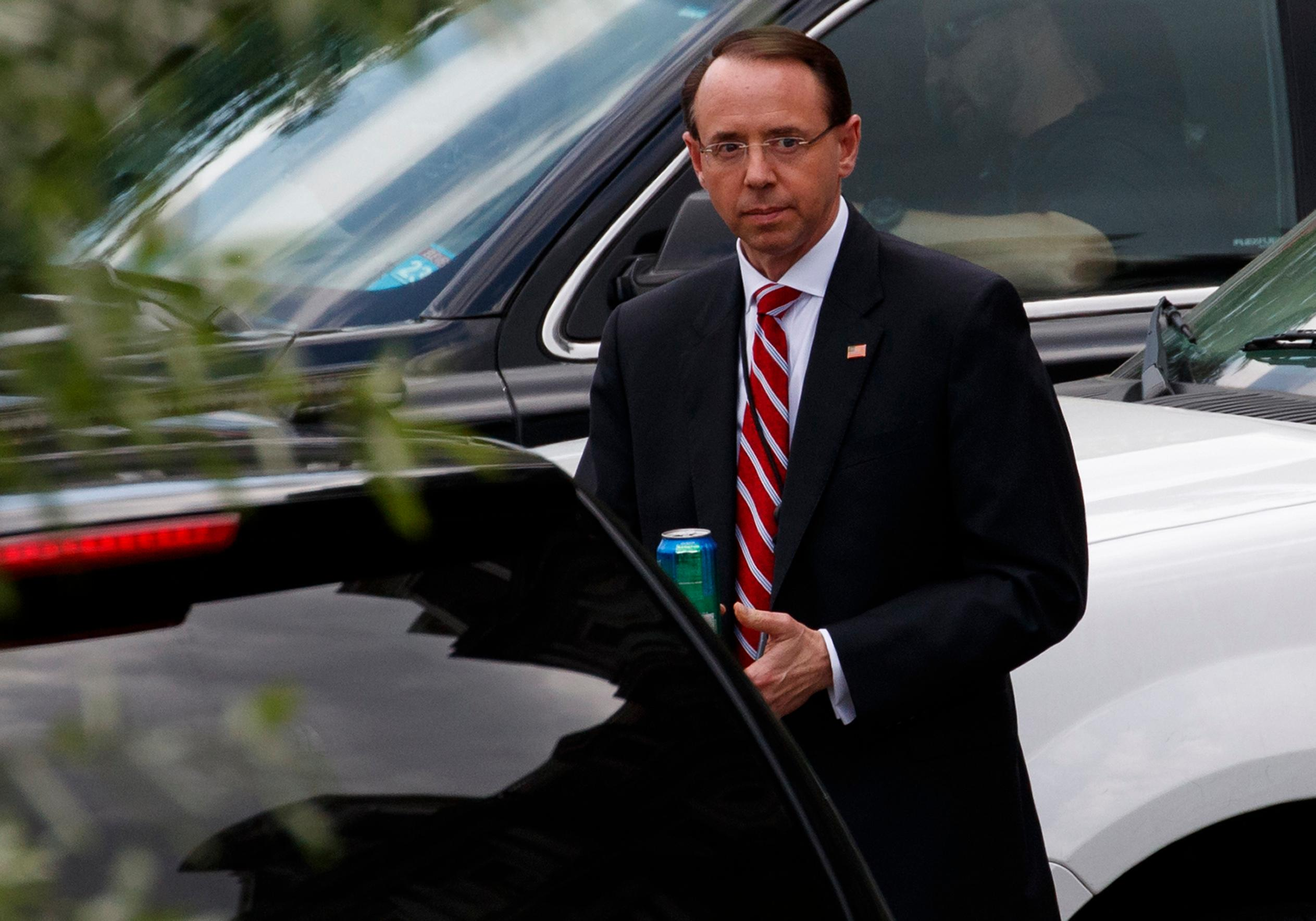 Deputy Attorney General Rod Rosenstein leaves the White House, Monday, May 21, 2018, in Washington. (AP Photo/Evan Vucci)