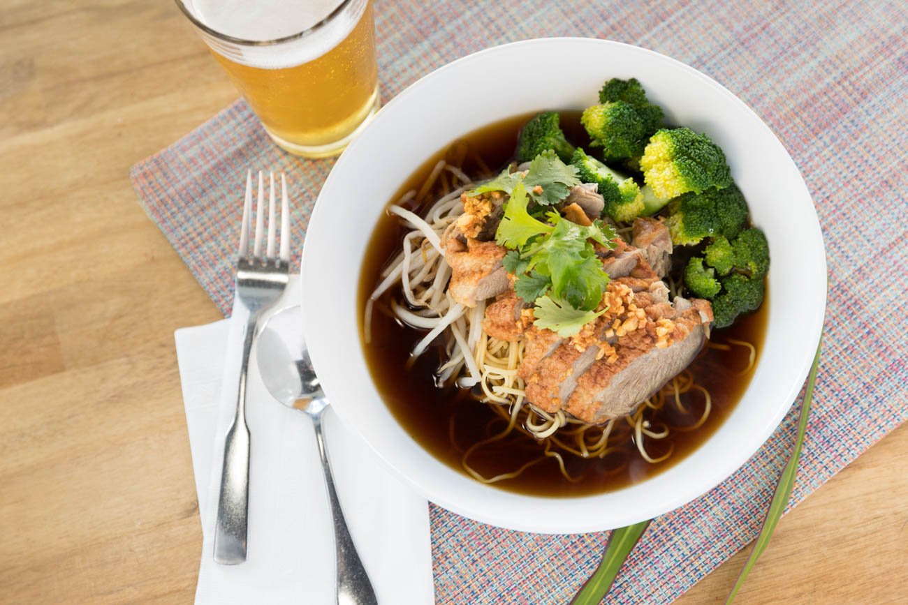 Duck noodle soup: egg noodle and duck in delicious house-made broth with broccoli & bean sprouts{ }/ Image: Marlene Rounds // Published: 1.17.19
