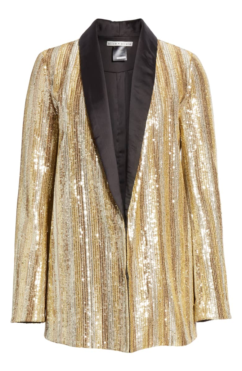 "This Alice + Olivia Jace Embellished Oversize Blazer will be the answer to her question ""what do I wear on New Years"" (and for all special occasions) Be her hero!{ } $595 at Nordstrom. (Image: Nordstrom){ }"