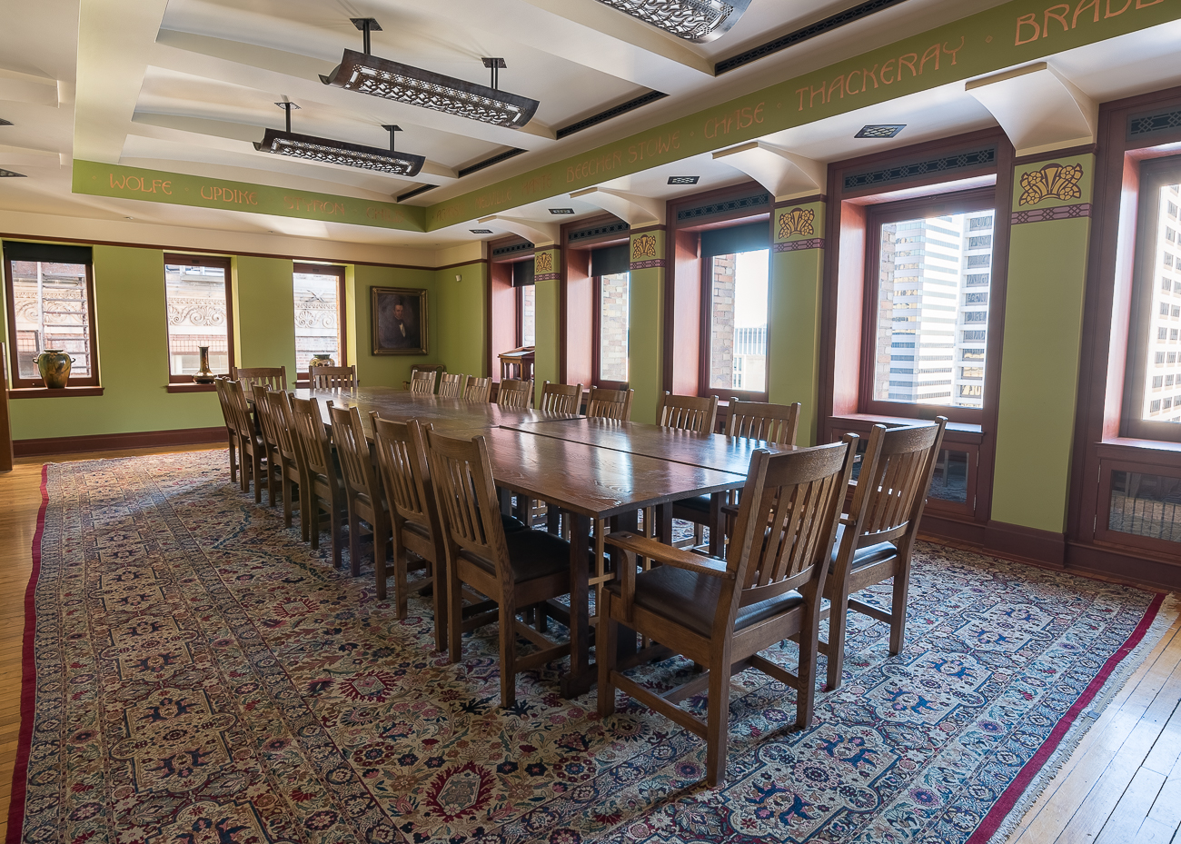 The lecture room on the 12th floor was renovated and reopened in April of 2000. The renovation cost $250,000 and also reconnected floors 11 and 12 via the spiral staircase that had previously been blocked off years before. / Image: Phil Armstrong, Cincinnati Refined // Published: 2.7.18<p></p>