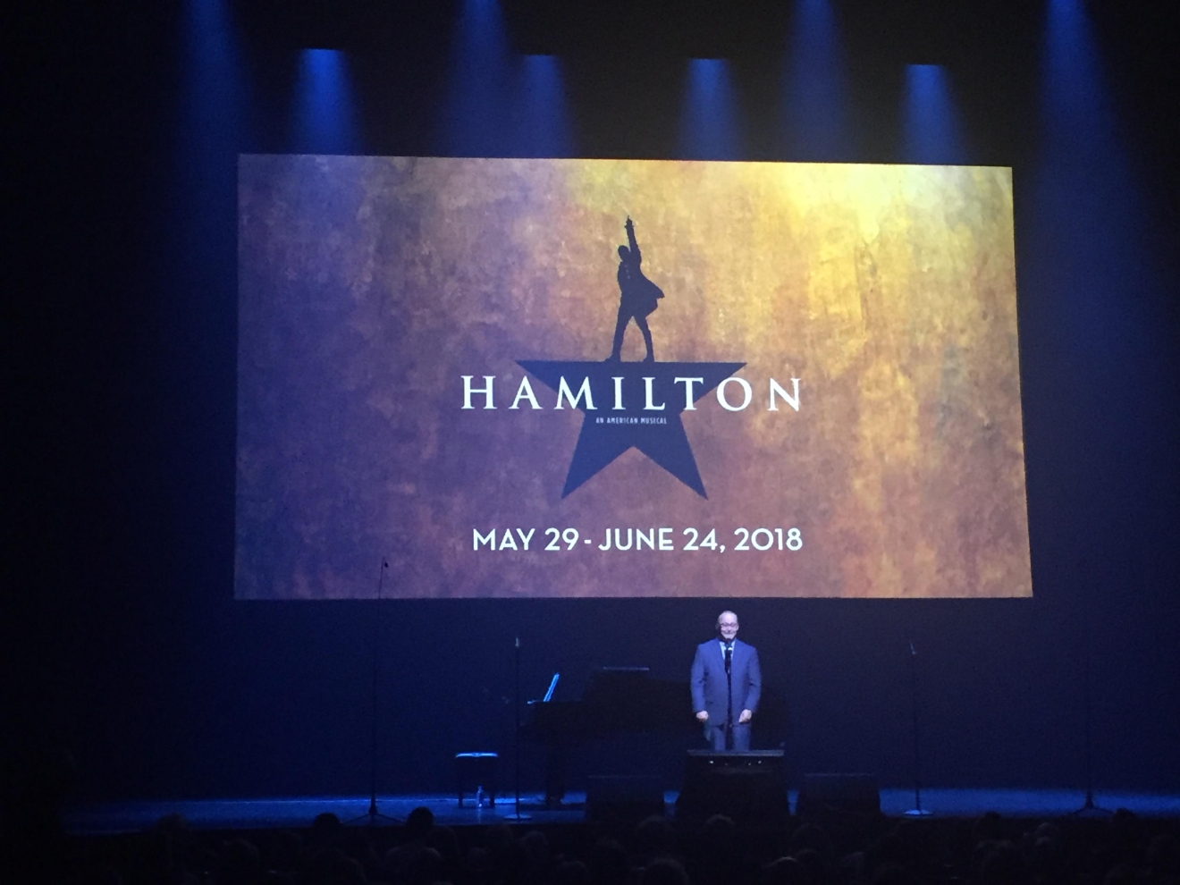 Smith Center President and CEO Myron Martin introduced upcoming hit musical Hamilton during the Smith Center for the Performing Arts 2017-2018 Broadway series preview Tuesday, Feb. 28, 2017, in Reynolds Hall. (Jami Seymore | KSNV)