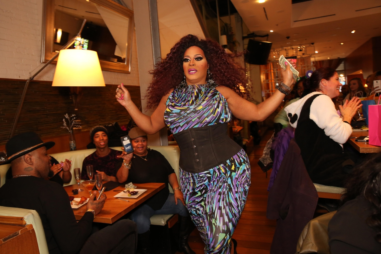 Dirty Martini's drag brunch offers thudding music and a slew of lip syncing queens, but we cannot get enough of those roller skates! (Amanda Andrade-Rhoades/DC Refined)