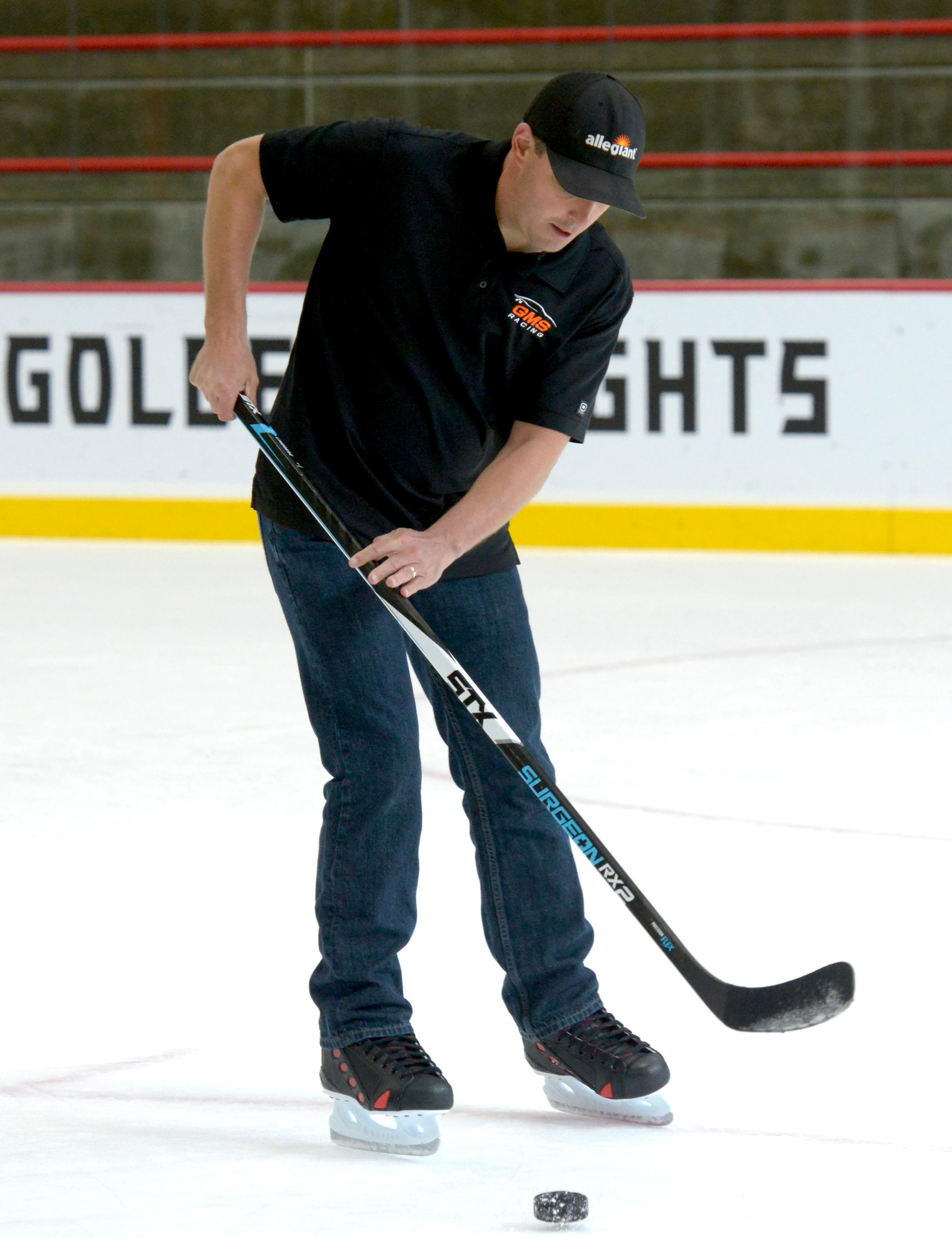NASCAR Camping World Truck Series drivers are led through a hockey skills clinic by retired hockey professional and Golden Knights TV Analyst Shane Hnidy at City National Arena in Las Vegas. Friday, September 29, 2017. CREDIT: Glenn Pinkerton/Las Vegas News Bureau