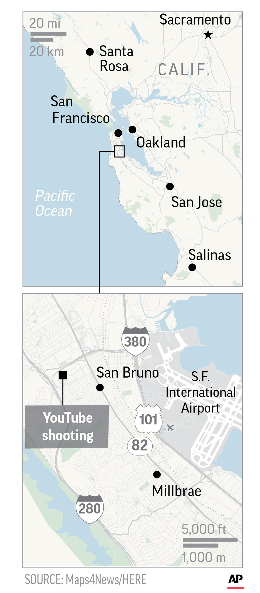 Graphic shows location of YouTube shooting in San Bruno, California; 1c x 4 1/4 inches; 46.5 mm x 107 mm;