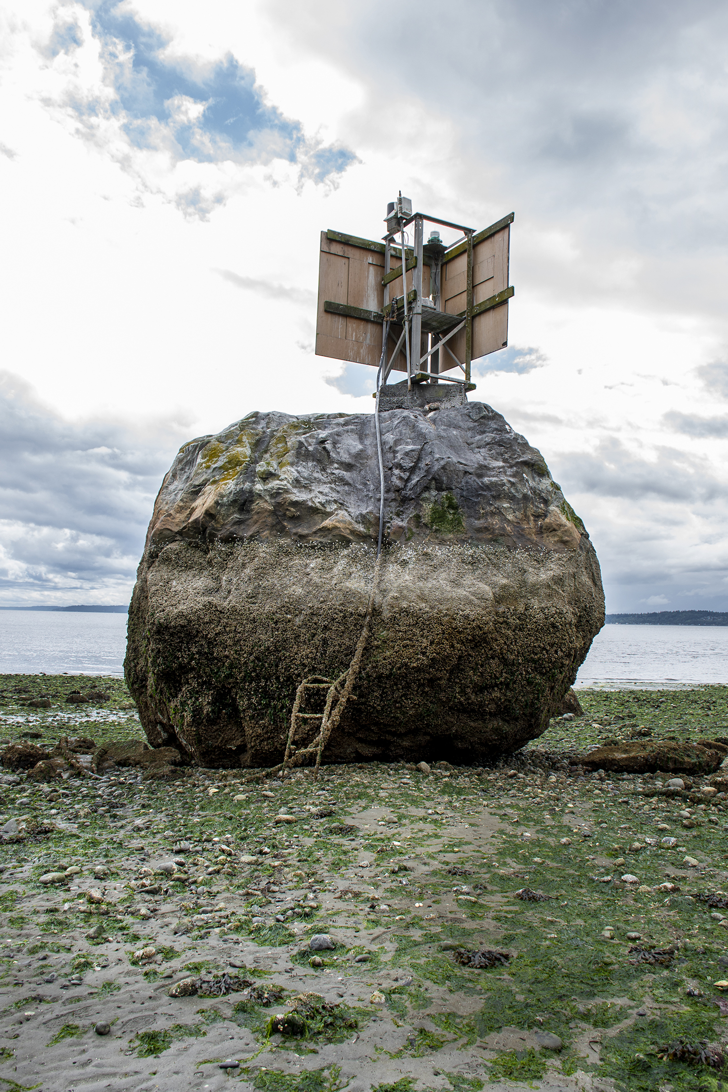 When the tide is at its lowest, walk right up to the boulder and marvel at its size. Or visit at high tide to see just how much water covers the massive stone. (Image: Rachael Jones / Seattle Refined)