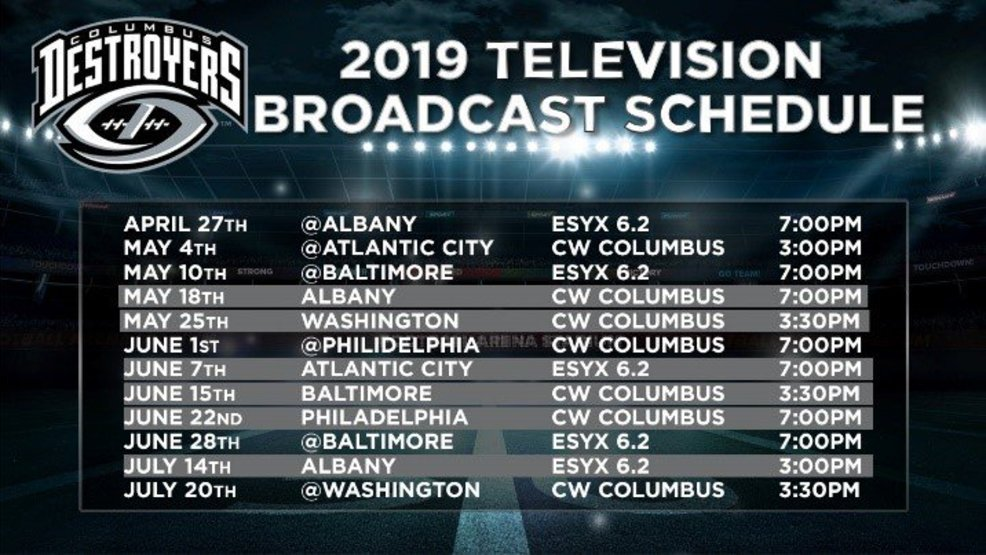 Columbus Destroyers to broadcast 2019 games live on CW