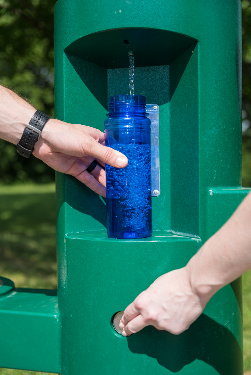 Pack a water bottle for your game; there is a convenient refill station near the first hole of the course. / Image: Phil Armstrong, Cincinnati Refined // Published: 6.8.17