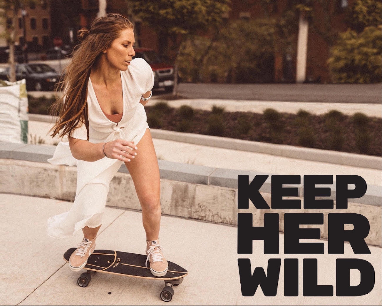 In 2018, Megs Gelfgot founded KEEP Her Wild, a female surf skating community that empowers women to find their fierce and feminine nature while shredding concrete waves and salty barrels. Since then, a movement has started, with KHW chapters launching across the country and internationally. / Image courtesy of KEEP Her Wild // Published: 3.3.21{&nbsp;}<p></p>