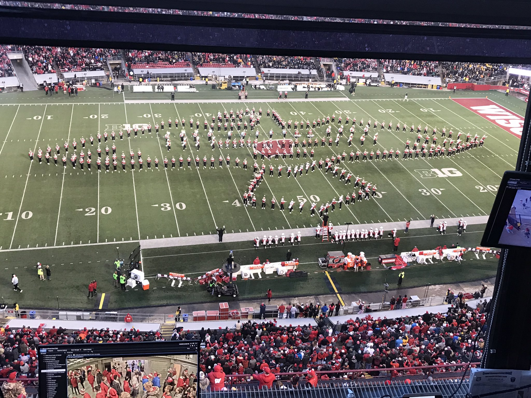The University of Wisconsin Marching Band honors the U.S. Marine Corps during its halftime show Nov. 9, 2019. (Photo courtesy Ryan Wubben)
