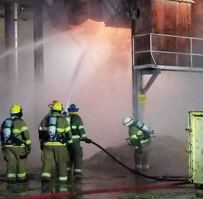 A commercial fire broke out at Roseburg Forest Products Plywood Plant #4, Oct. 12, 2017. (Photo courtesy Riddle Fire District)