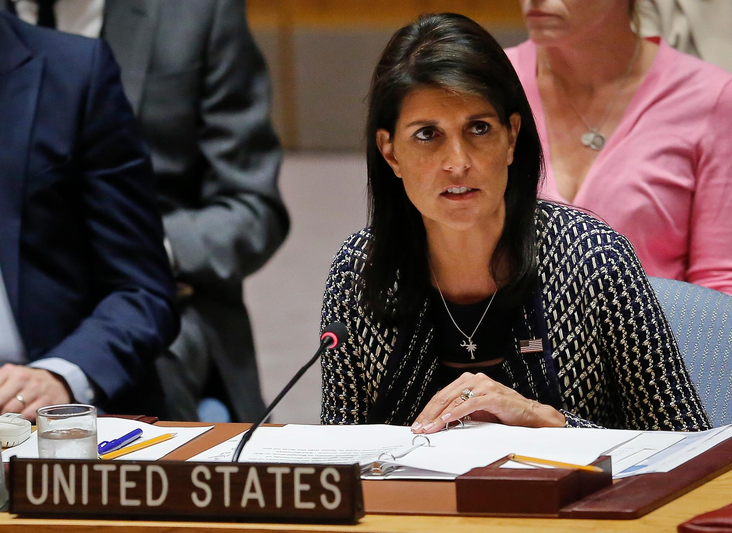 "FILE - U.S. Nikki Haley said Sunday, Dec. 10, 1017 on CBS' ""Face the Nation"" that women who accuse someone of sexual misconduct deserve to be heard, even if it involves President Donald Trump. (AP Photo/Bebeto Matthews, File)"