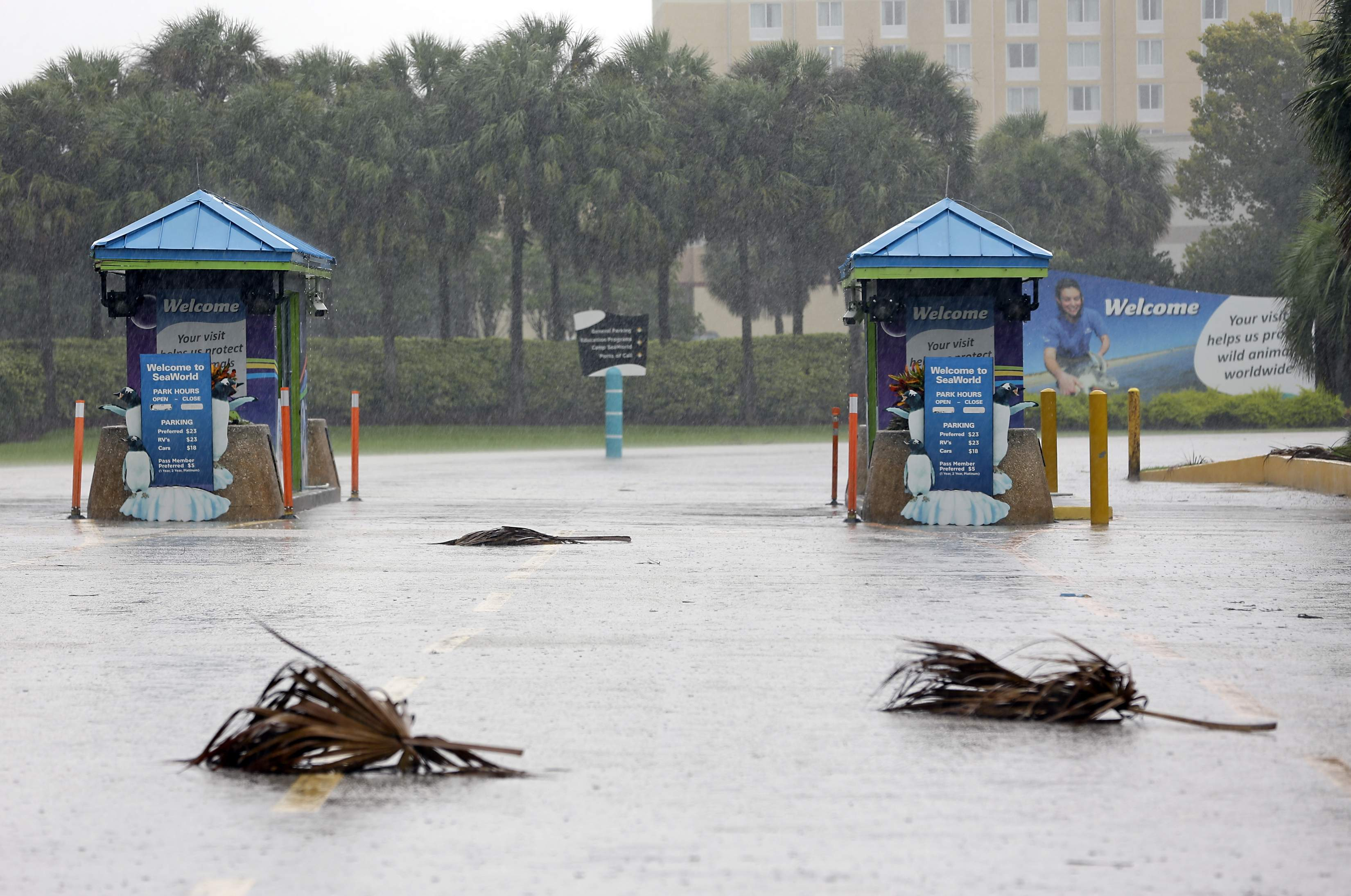 The entrance to the Sea World of Orlando is closed because of Hurricane Irma approaching the central Florida area, Sunday, Sept. 10, 2017, in Orlando, Fla. Other tourists attractions including Universal Studios and Disney World were also closed and planned to reopen Tuesday. (AP Photo/John Raoux)