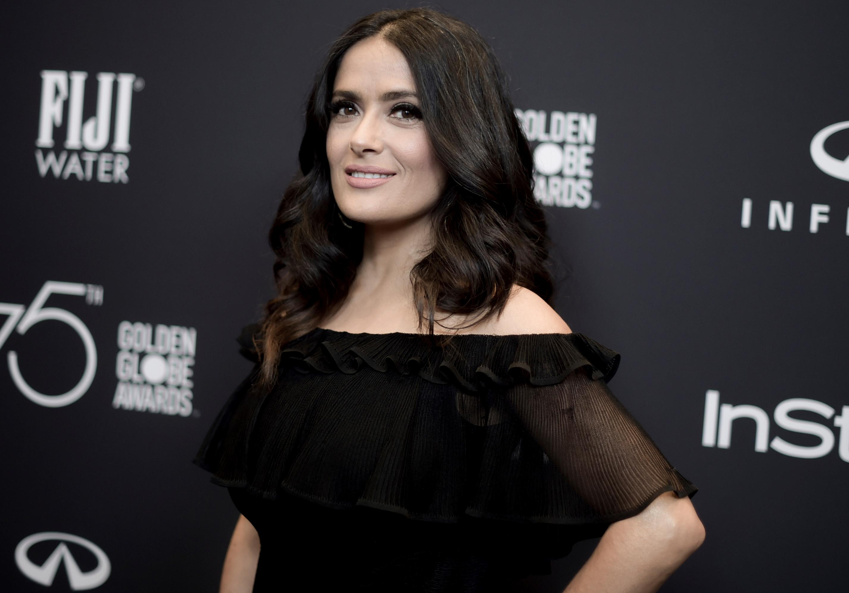 FILE - In this Nov. 15, 2017 file photo, actress Salma Hayek attends the HFPA and InStyle Celebrate the 2018 Golden Globe Awards Season in West Hollywood, Calif. (Photo by Richard Shotwell/Invision/AP, File)