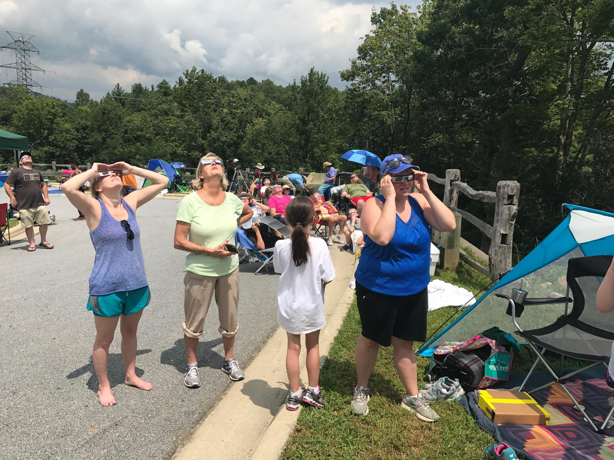 About 5,000 people packed Gorges State Park in Transylvania County to see the total solar eclipse, but the weather let them down. (Photo credit: WLOS staff)