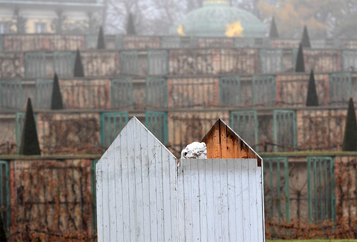 A marble statue looks out of its partially completed housing in Park Sanssouci in Potsdam, Germany, Wednesday, Nov. 16, 2016. Over 200 figures are covered with wooden casing for weather protection during the winter months.  (Ralf Hirschberger/dpa via AP)