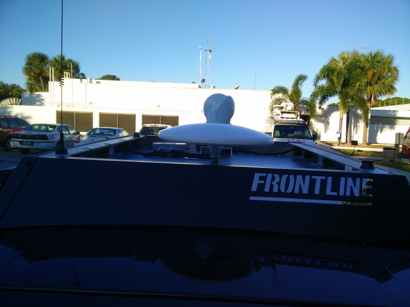 A roof rack serves as home for antennas and external gear.  (Photo: WPEC)