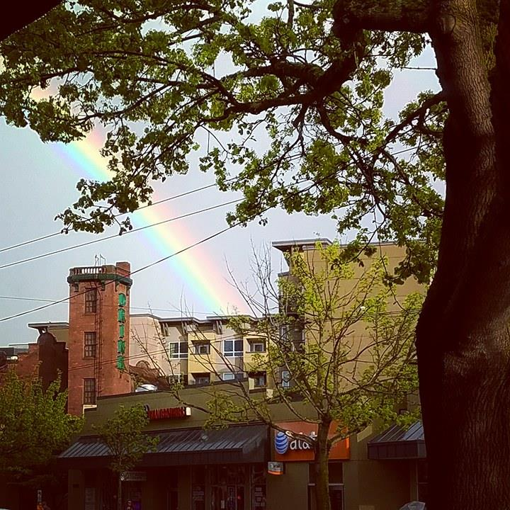 A rainbow is seen in Seattle's Ballard neighborhood, Tuesday, April 18, 2017. (Photo: Zane Traylor-Hood)