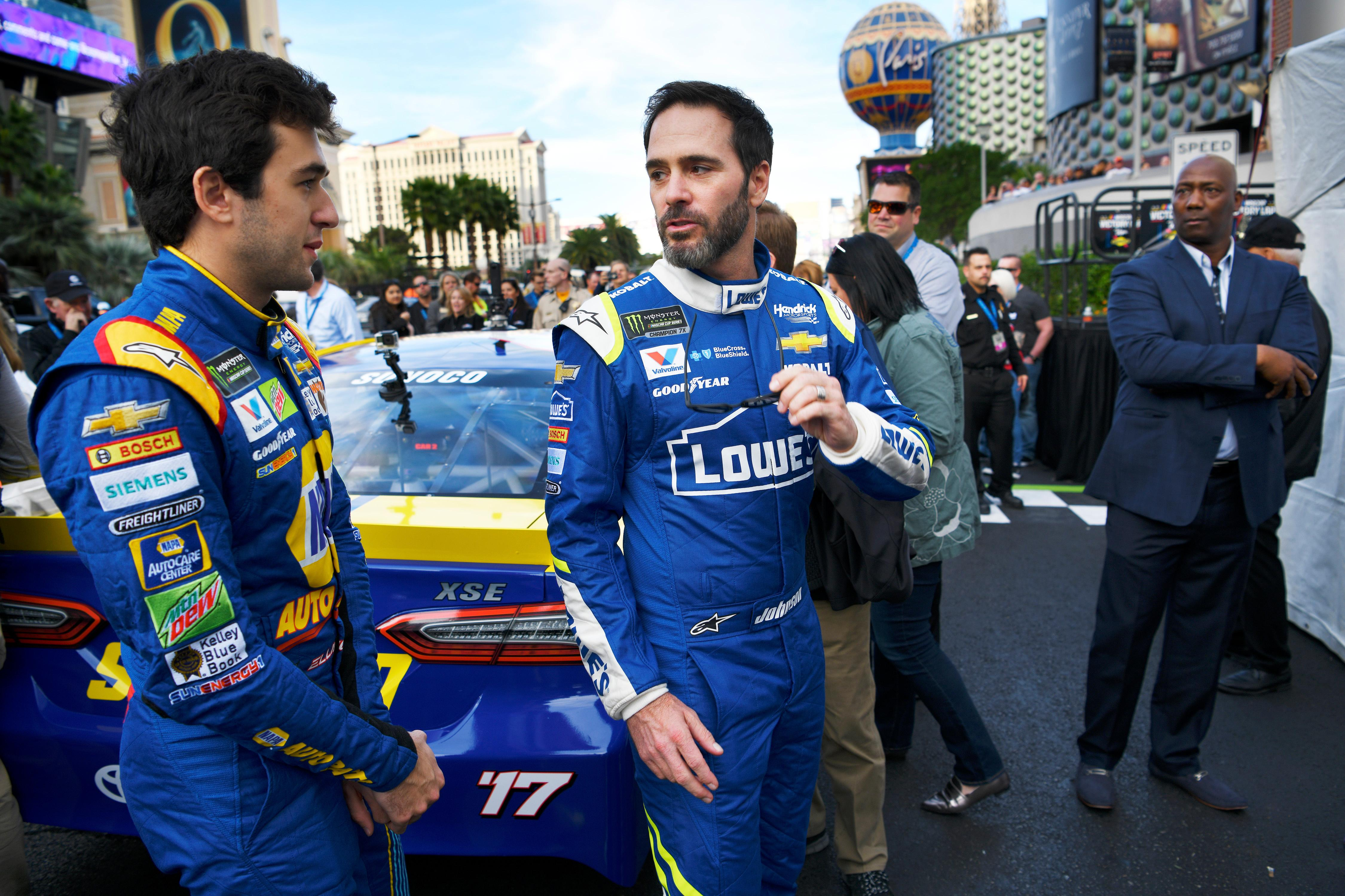 Monster Energy NASCAR Cup Series driver Jimmie Johnson, right, talks with Monster Energy NASCAR Cup Series driver Chase Elliott during the NASCAR Victory Lap on the Las Vegas Strip being held as part of Champions Week Wednesday, November 29, 2017. CREDIT: Sam Morris/Las Vegas News Bureau