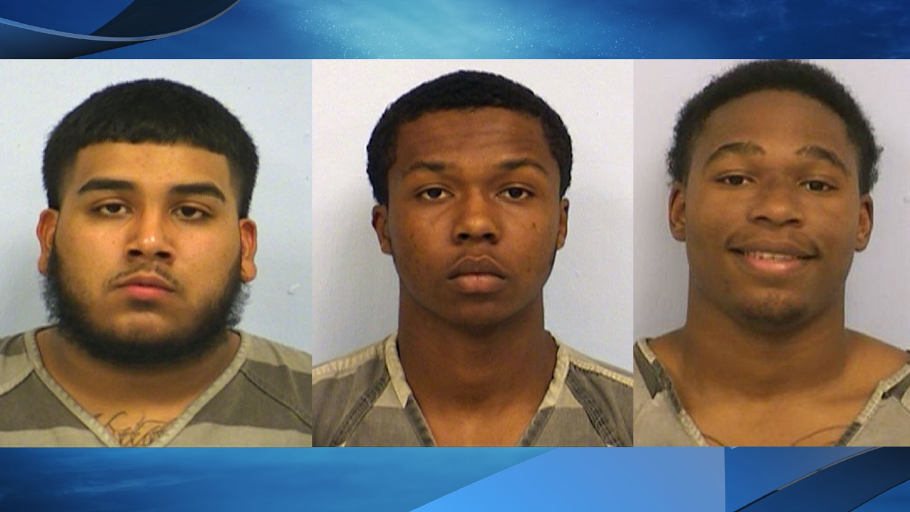 Richard Gary Gomez, Xavier O'Neal Lewis, both 18, and Terrence Williams, 19, are each charged with aggravated robbery with a deadly weapon, a first degree felony. (Photos courtesy: Austin Police Department and Lone Star Fugitive Task Force)