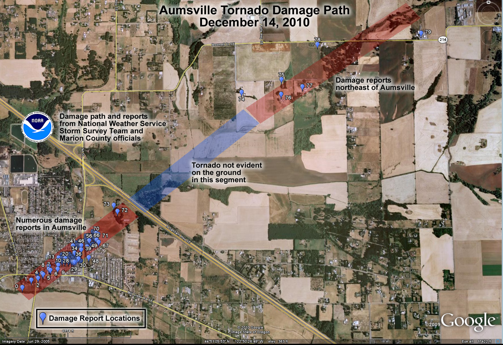 National Weather Service map of December 14, 2010, tornado damage in Aumsville, Ore.