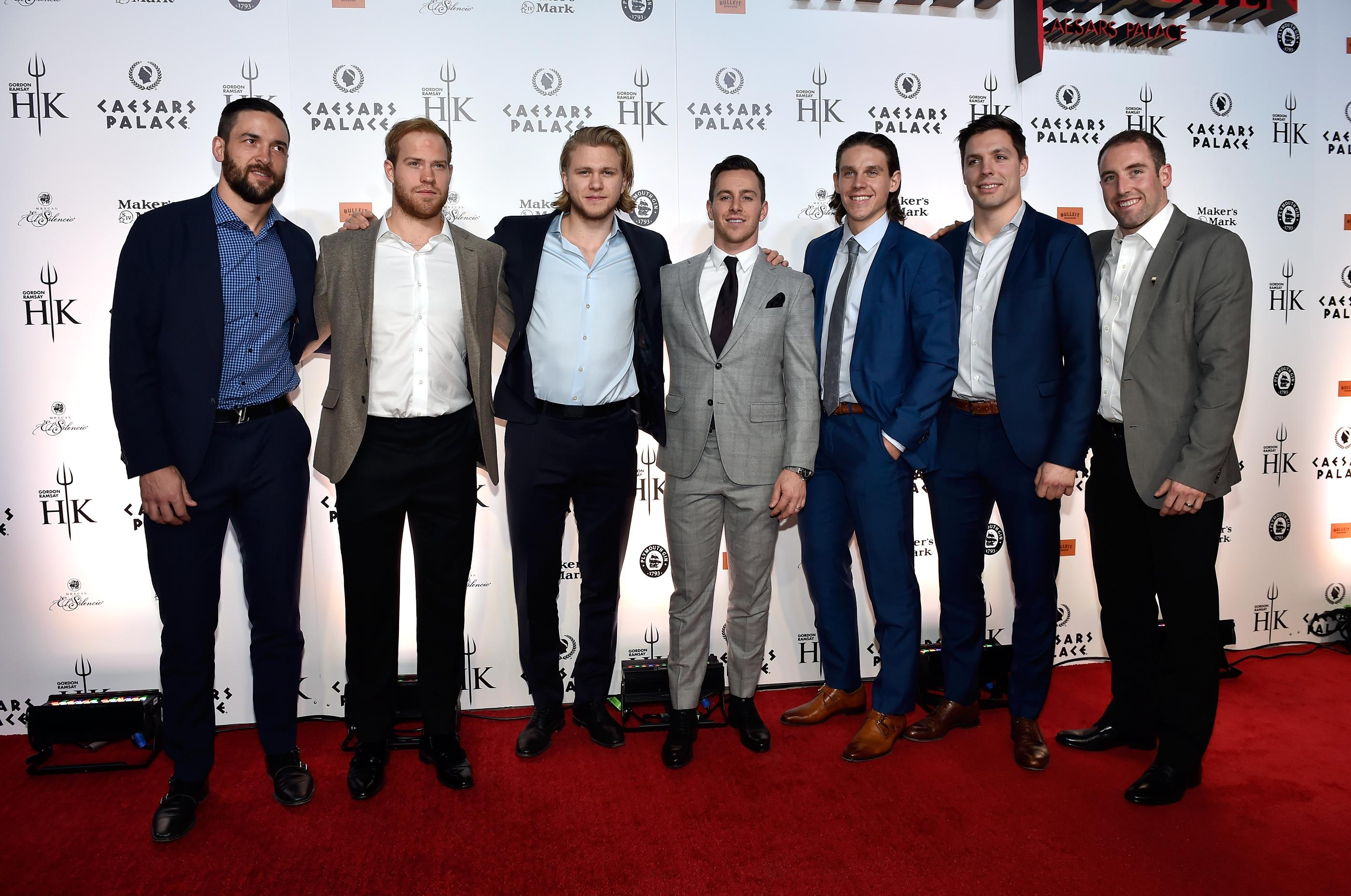 Vegas Golden Knight players from left, Deryk England, Oscar Lindberg, William Karlsson, Jonathan Marchessault, Erik Haula, David Perron and Brand Hunt attend the grand opening of Gordon Ramsay Hell's Kitchen at Caesars Palace Friday, Jan. 26, 2018, in Las Vegas. CREDIT: David Becker/Las Vegas News Bureau