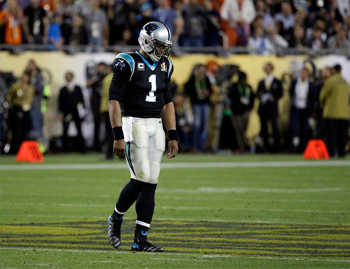 Carolina Panthers' Cam Newton (1) walks off the field after throwing an interception during the second half of the NFL Super Bowl 50 football game against the Denver Broncos Sunday, Feb. 7, 2016, in Santa Clara, Calif. (AP Photo/Marcio Jose Sanchez)