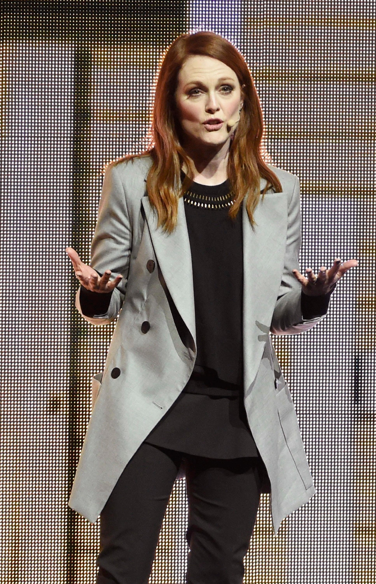 "Julianne Moore, a cast member in the upcoming film ""Suburbicon,"" discusses the film during the Paramount Pictures presentation at CinemaCon 2017 at Caesars Palace on Tuesday, March 28, 2017, in Las Vegas. (Photo by Chris Pizzello/Invision/AP)"