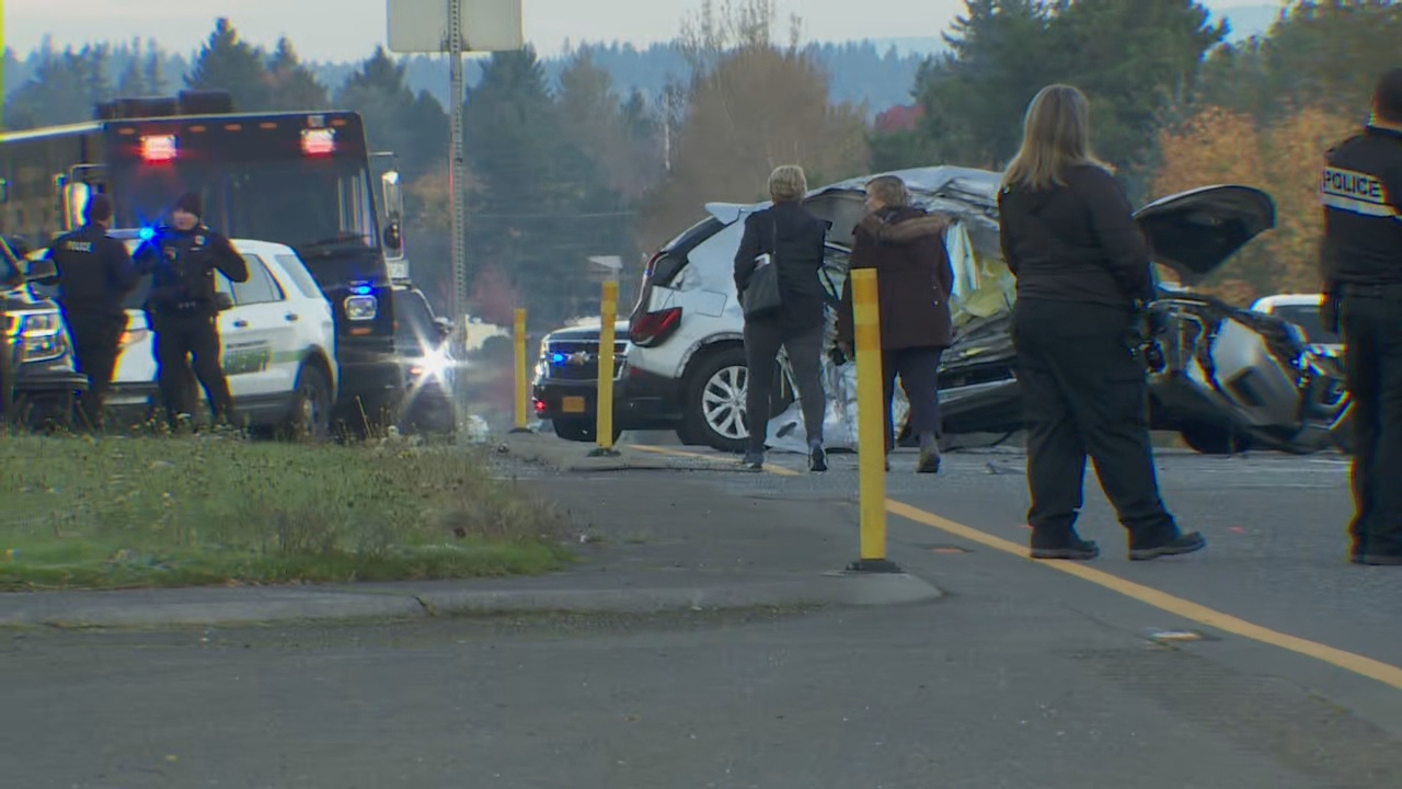 One person was killed and another person was injured in a crash on Highway 26 in Gresham on Oct. 28, 2019. KATU photo