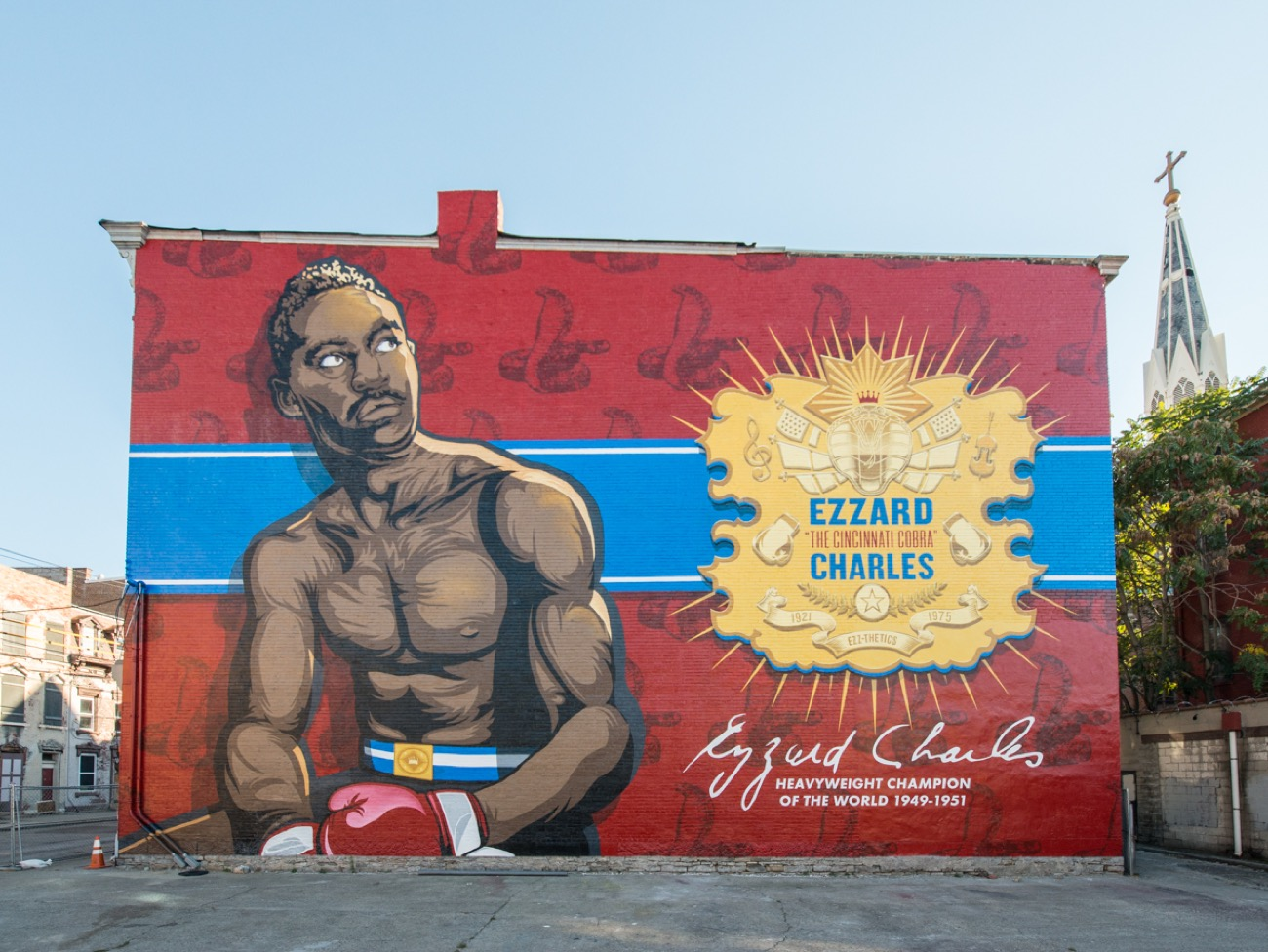 "<p>WHBV illustrated and designed the second mural for the Artworks ""Legends"" series featuring Ezzard Charles, the Cincinnati-born World Heavyweight Champion. / Image courtesy of We Have Become Vikings // Published: 7.18.18</p>"