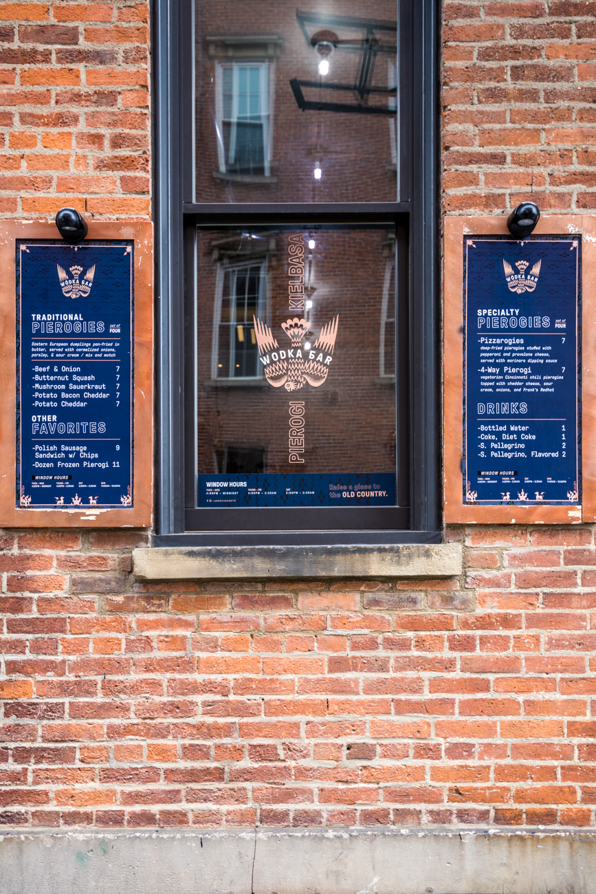 PLACE: Wódka Bar Pierogi / ADDRESS: 1200 Main Street (Over-the-Rhine) / Attached to Wódka Bar, between the entrances of Wódka and Rosedale, is a food window that offers fresh pierogis straight from babushka. You can grab your food from the window, or order and enjoy from inside the Russia-inspired bar where you can also get a drink and stay cozy. / Image: Catherine Viox // Published: 11.12.19