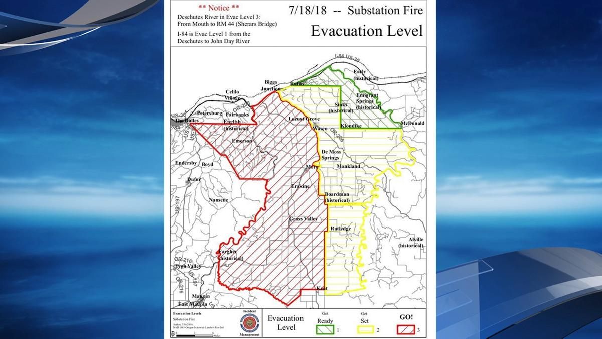 Substation Fire evacuation map as of 6PM Wednesday - Sherman County Sheriff's Office.jpg
