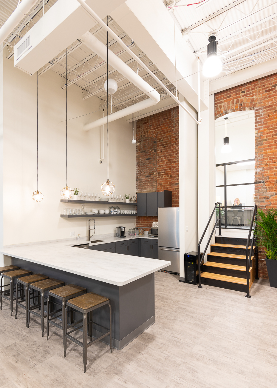 There's a communal kitchen for employees. / Image: Phil Armstrong, Cincinnati Refined // Published: 3.22.19