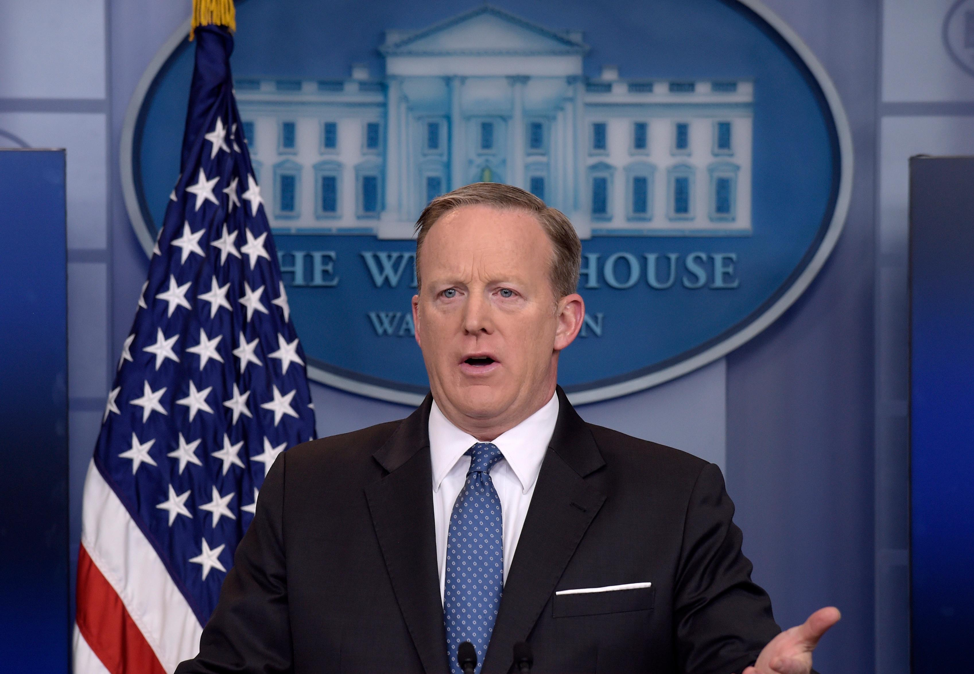 White House press secretary Sean Spicer speaks during the daily briefing at the White House in Washington, Monday, April 3, 2017. Spicer answered questions about the Supreme Court, President Donald Trump's salary and other topics. (AP Photo/Susan Walsh)