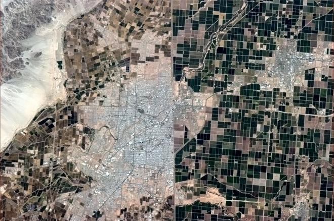 Same land, different politics. The US - Mexican border, seen from space. (Photo & Caption: Col. Chris Hadfield, NASA)
