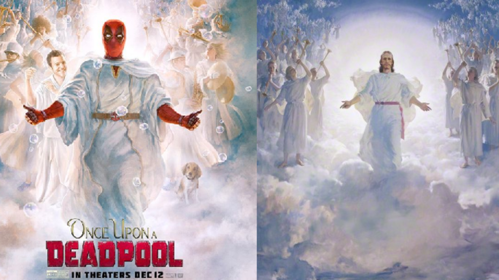 new deadpool poster resembles lds commissioned painting of jesus