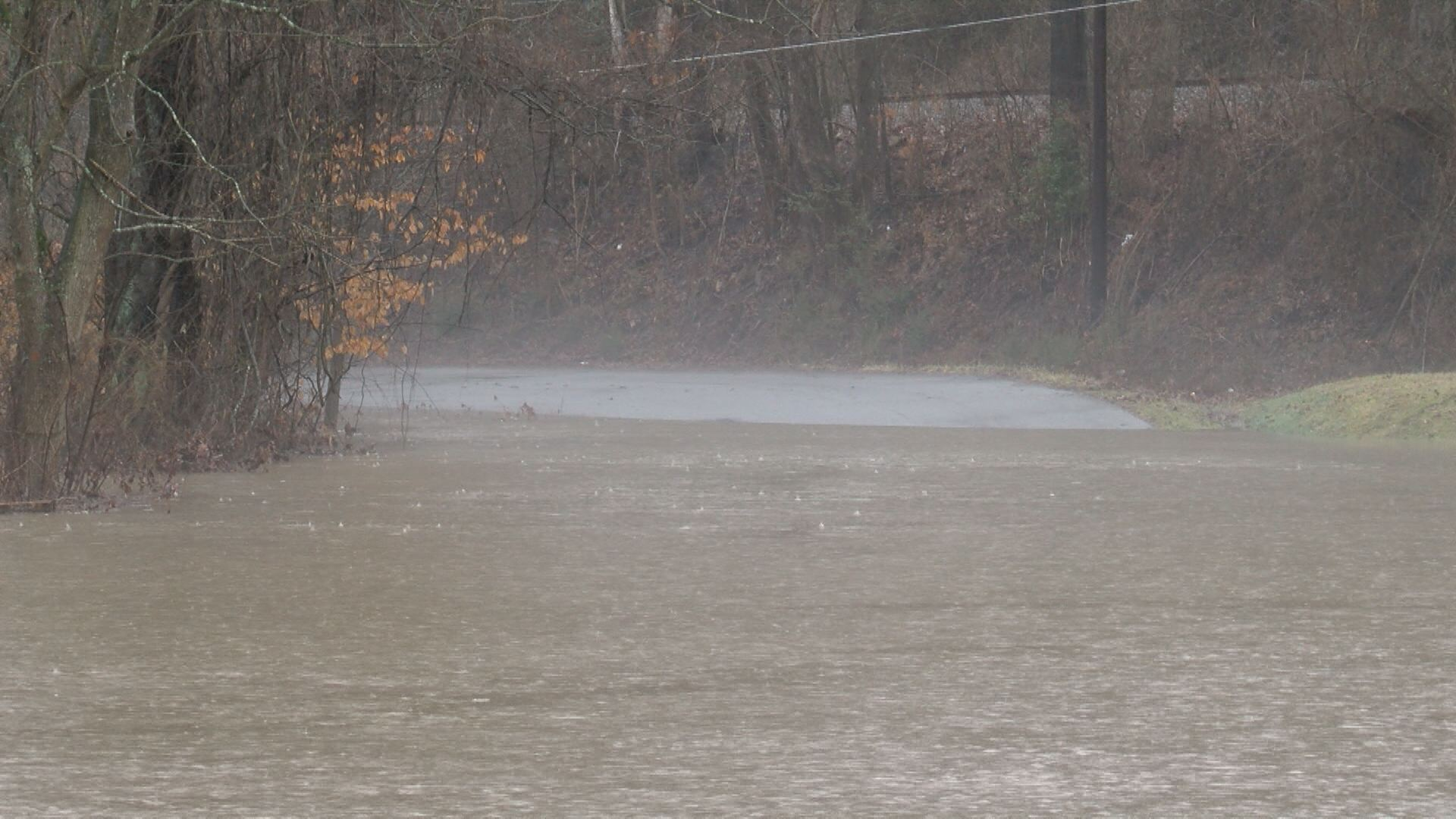 An aviation road in Big Stone Gap covered in water<p></p>