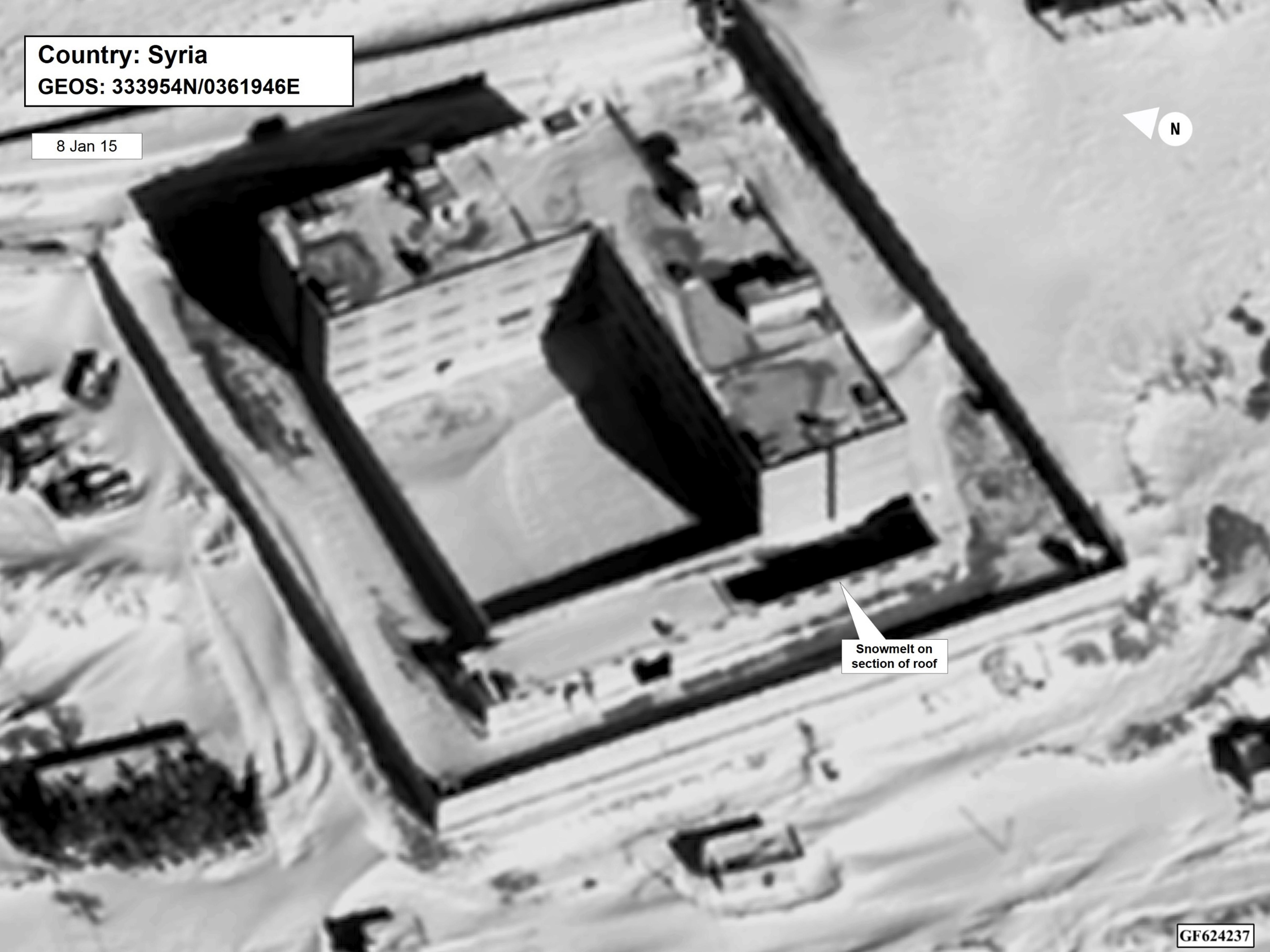 This image provided by the State Department and DigitalGlobe, taken Jan. 15, 2015, a satellite image of what the State Department described as a building in a prison complex in Syria that was modified to support a crematorium. The Trump administration accused the Syrian government of carrying out mass killings of thousands of prisoners and burning the dead bodies in a large crematorium outside the capital. It also stepped up criticism of Iran and Russia for supporting the Syrian government. (State Department/DigitalGlobe via AP)