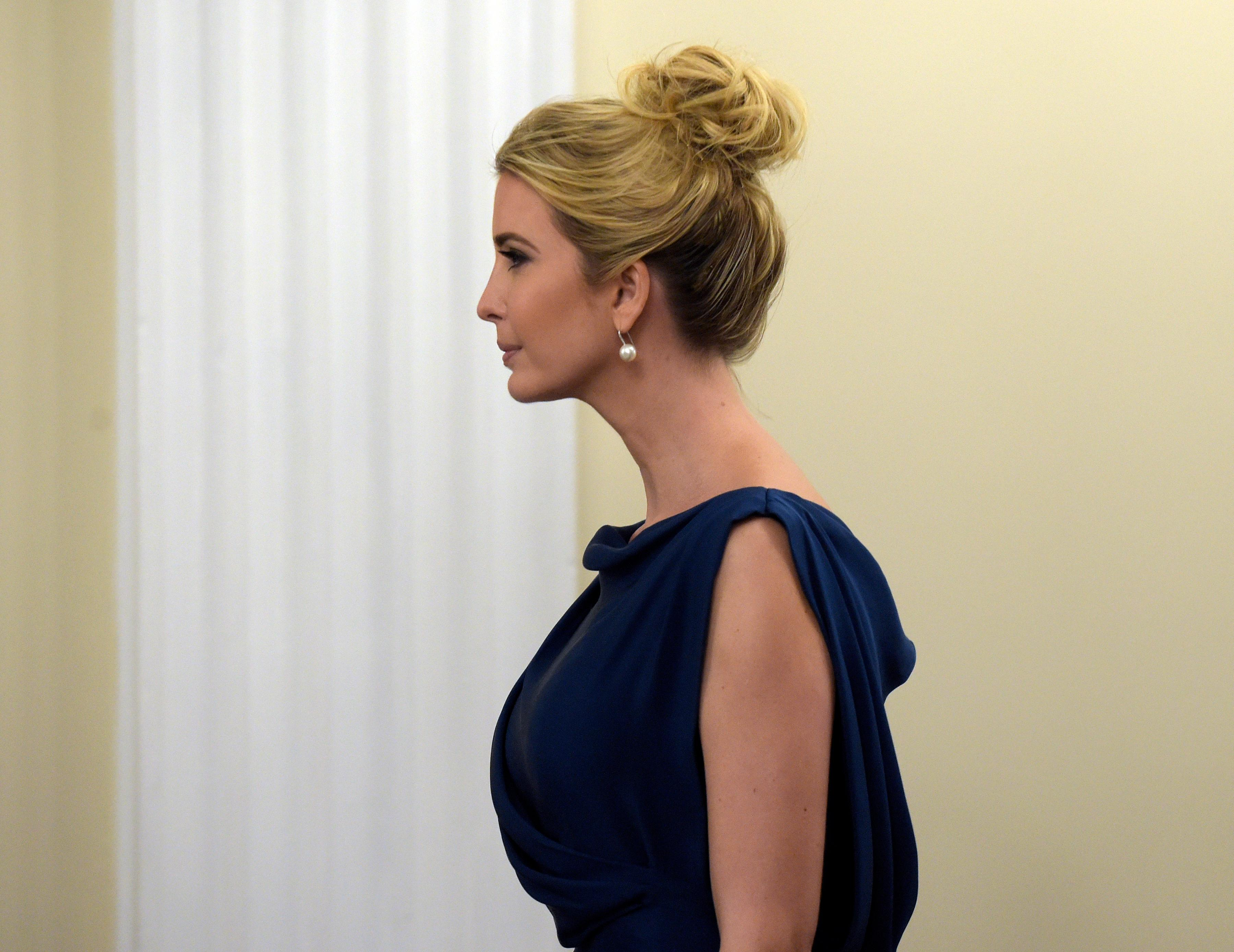 "Ivanka Trump arrives to listen to her husband, White House senior adviser Jared Kushner speak at the opening session of the White House meeting with technology Chief Executive Officers to mark ""technology week,"" Monday, June 19, 2017, in the Indian Treat Room of the Eisenhower Executive Office Building on the White House complex in Washington. (AP Photo/Susan Walsh)"