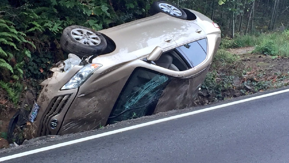 Driver crashes when spider drops from mirror - Photo by KATU Photojournalist Mike Warner 2.jpg