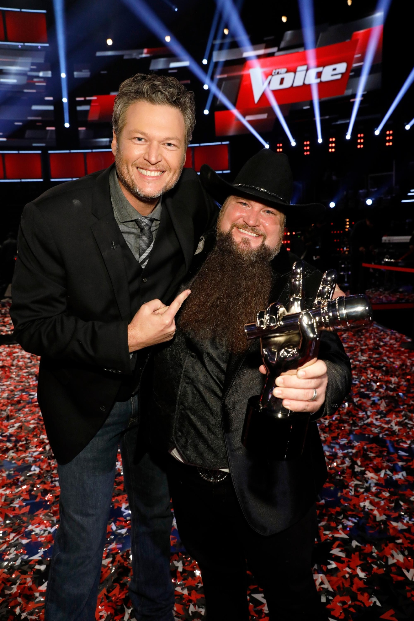 "Coach Blake Shelton with ""The Voice"" winner Sundance Head. (Photo by: Trae Patton/NBC)"