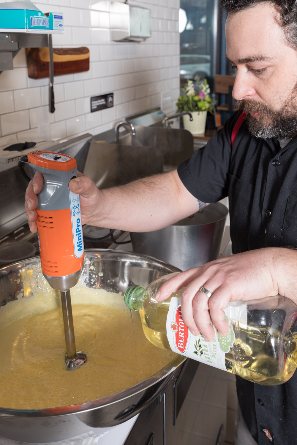 Gary mixes mayonnaise from scratch{ }/ Image: Marlene Rounds // Published: 3.12.19