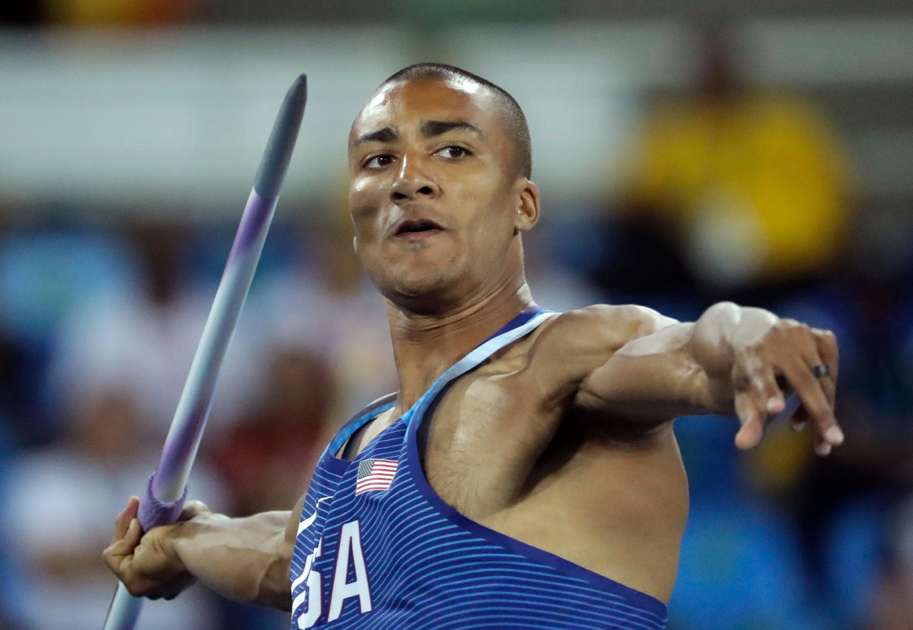 United States' Ashton Eaton makes an attempt in the javelin throw of the decathlon during the athletics competitions of the 2016 Summer Olympics at the Olympic stadium in Rio de Janeiro, Brazil, Thursday, Aug. 18, 2016. (AP Photo/Matt Dunham)