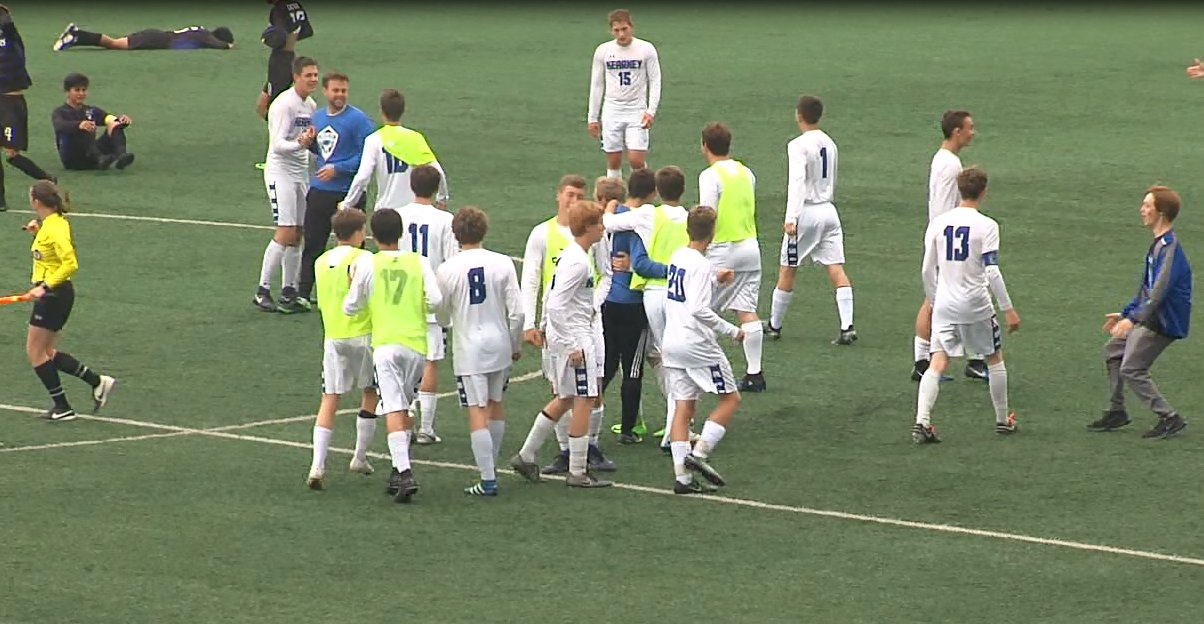 The Kearney boys soccer team celebrates after beating Grand Island in a Class A quarterfinal, May 10, 2017 (NTV News)