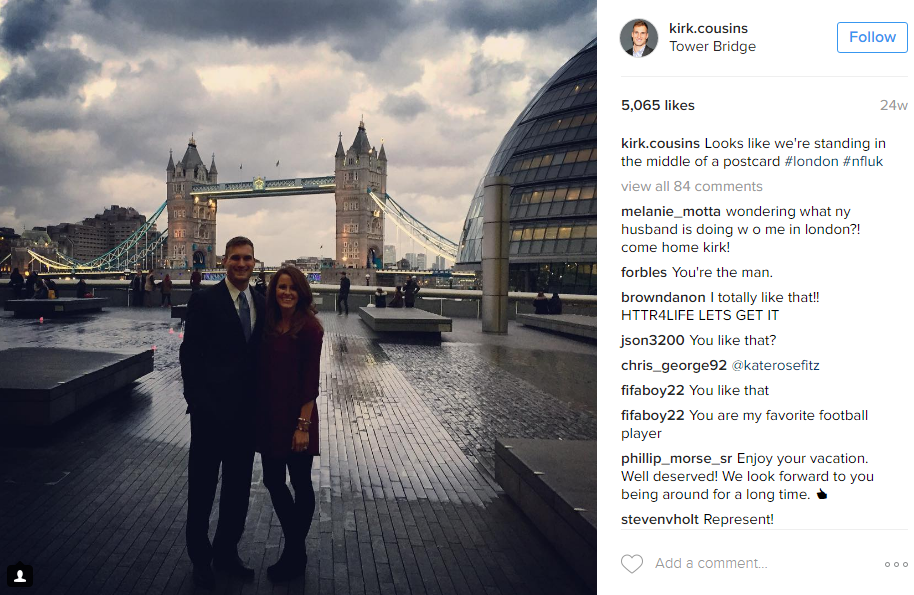 Kirk Cousins made a trip across the pond with wife Julie to help promote the NFL overseas. (Image: @kirk.cousins Instagram)
