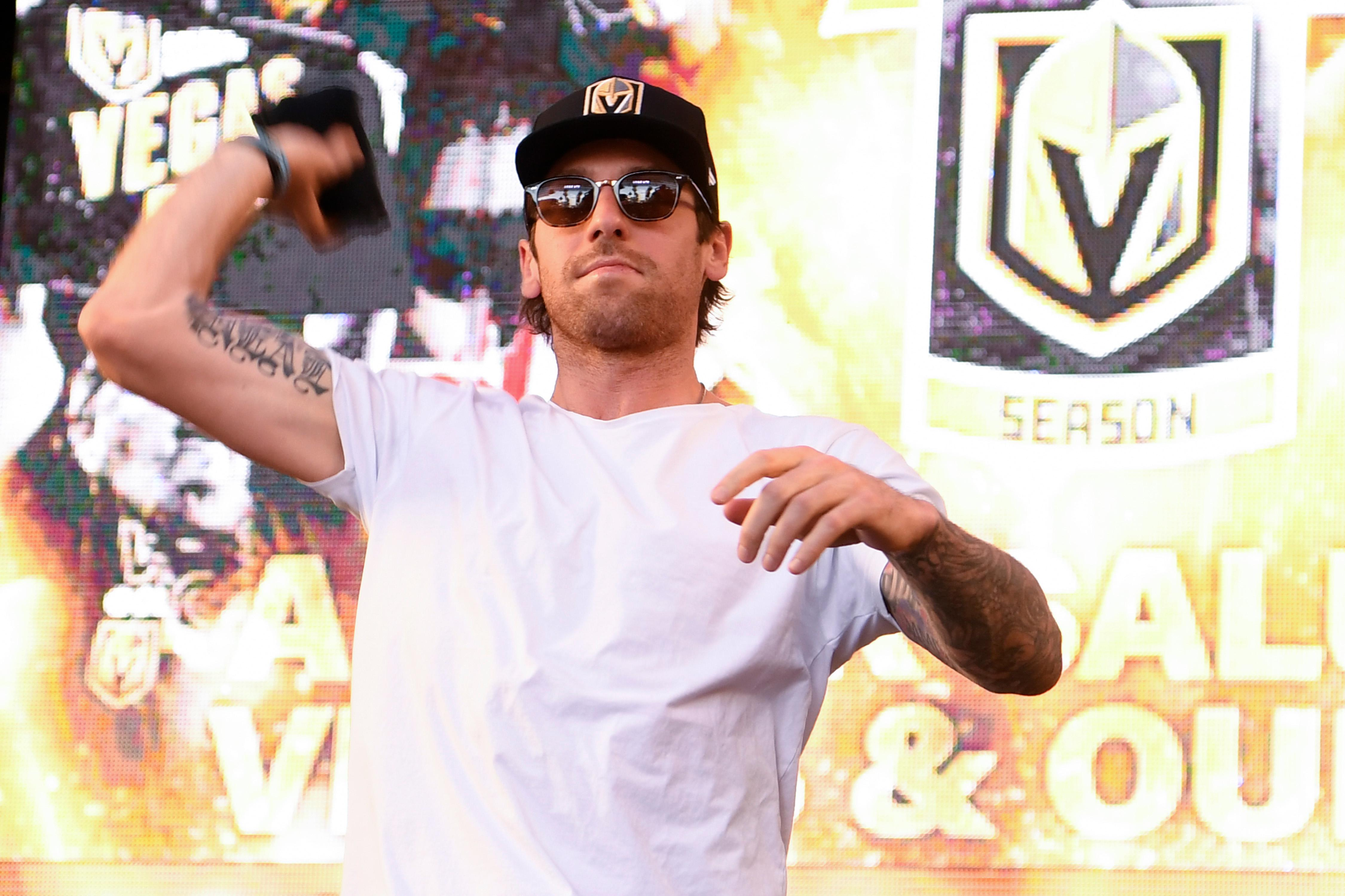 Vegas Golden Knights left wing James Neal tosses out a t-shirt during a Vegas Golden Knights Stick Salute to Vegas fan appreciation rally at the Fremont Street Experience Wednesday, June 13, 2018. CREDIT: Sam Morris/Las Vegas News Bureau