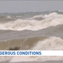 Crashing waves on Lake Michigan nearly reach new record