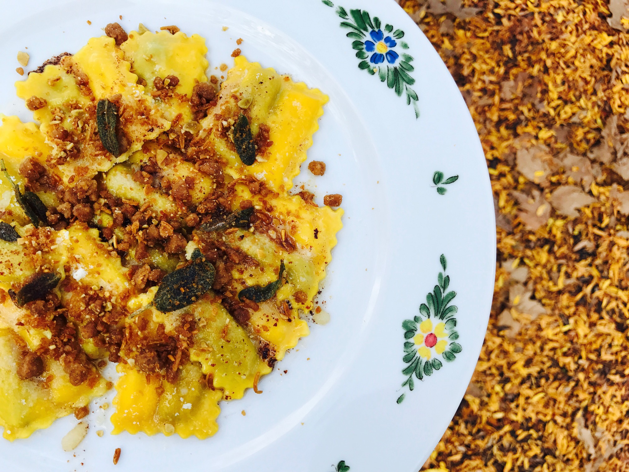 <p>Pumpkin Ravioli from Chef Ben Pflaumer of Osteria Morini: Making ravioli from scratch requires a little time and effort in the kitchen, but the results are well worth it. This seasonal pumpkin-stuffed ravioli from Osteria Morini is basted in brown butter, Parmigiano, and sage. (Image: Courtesy Osteria Morini)</p><p></p>