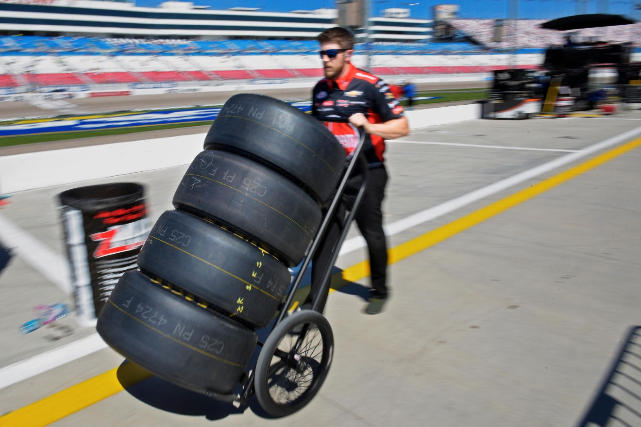 One of Austin Dillion's crew members wheels tires to their pit before the NASCAR Xfinity Series Boyd Gaming 300 Saturday, March 11, 2017, at the Las Vegas Motor Speedway. (Sam Morris/Las Vegas News Bureau)